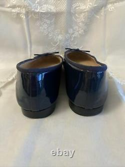 CHANEL CC Navy Blue Patent Leather Cap Toe Classic Bow Ballet Flats Size 10m 40