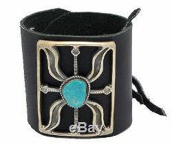 Carole, Wilson Begay, Bow Guard, Sandcast, Fox Turquoise, Navajo Handmade
