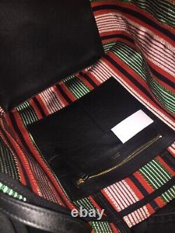 Celine Large Cabas Phantom Tote Striped Green Orange White & Black Leather $1890