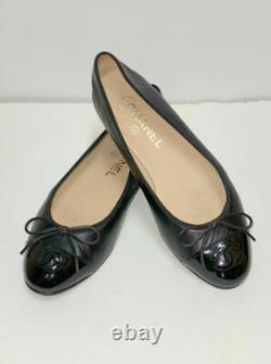 Chanel Classic Black Calf Leather Patent Cap Toe Ballet Flats Shoes Size 37.5