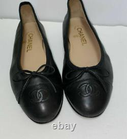 Chanel Classic Black Lambskin Leather Cap Toe Ballet Flats Shoes Size 37