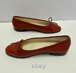Chanel Classic Red Pebbled Leather Patent Cap Toe Ballet Flats Shoes Size 37