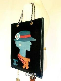 Chanel Rare Vintage Coco Gabrielle Leather Wool Jewel Shopping Tote Bag Couture