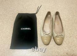 Chanel Vintage Beige Ivory Logo Monogram CC Bow Ballet Ballerina Flats, 38.5/5.5