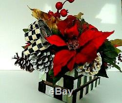 Christmas Floral Arrangement in Wood crate, & Mackenzie Childs Bow