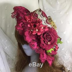 Cla Lolita Girls Gorgeous Blossoms Lace Bow Red Flat Top Hat Cat Party Handmade