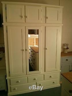 Classique Bow Front Triple 5 Drawer Wardrobe Cream/ivory Mirror Door + Topbox