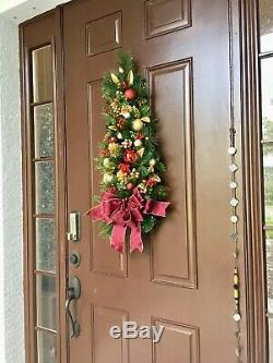 Classy large Burgundy Bow WALL TREE Holiday Decor, Cordless Light with Timer