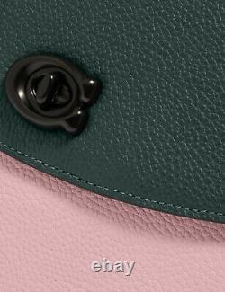Coach cassie 19 Leather crossbody Satchel in colorblock NWT Green Pink 89088