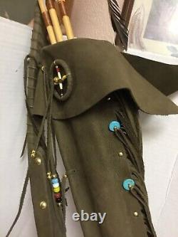 Collectible Native American Tigua Tribe Bow & Arrow Signed