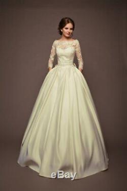 Corset Lace Wedding Dress Size 4 6 8 Custom A line Wedding Dress Long Sleeve
