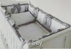 Cot Quilt, Pillowcase + 4 Sided Padded Bumper with Ruffles and Bows White + Grey