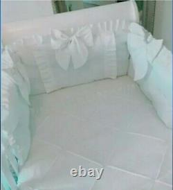 Cotbed Bedding Quilt, PillowCase + Tufted Bumper with Ruffles + Bows White Grey