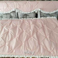 Cotbed Bedding Quilt +Teething Rail Cover Ruffles and Bows Handmade Cot Bedding