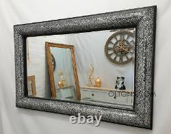 Crackle Bow Design Wall Mirror Black Frame Mosaic Silver Glass 120X80cm Handmade