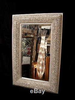 Crackle Bow Design Wall Mirror Silver Frame Mosaic Glass 120X80cm New Handmade
