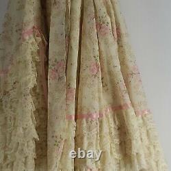 Cream Pink Floral Vtg Handmade Circle 1960's Dress Lace Bow Prairie Size XS-SM