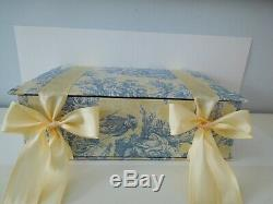 Custom Box Toile de Jouy Fabric Covered Blue Yellow Bow Padded 17 x 12 x 5.5