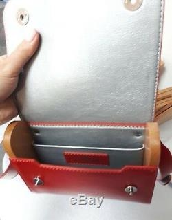 Custom made natural Italian leather bag with real Belarusian maple wood