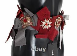 DOLCE & GABBANA Belt Waist Red Crystal Brooches Hand Made IT40/US6/S