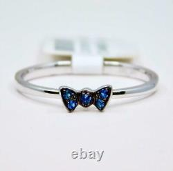 Dainty 14k White Gold Blue Sapphire Ribbon Butterfly Promise Sweetheart Ring