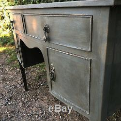 Dark Grey Vintage Country Bow Fronted Writing Desk / Dressing Table / Sideboard