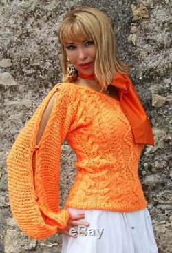 Designer Handmade Knitted Mohair Sweater with Bow for special events