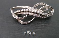Diamond Brooch Ribbon Bow 18ct Gold White 45 Stone 20th century Handmade