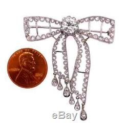 Diamond Edwardian Style Platinum Bow Brooch Pin