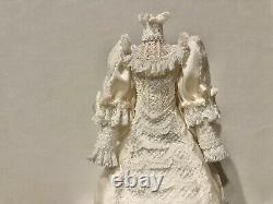 Dollhouse Miniatures White Wedding Dress w Lace, Bows & Flowers on Mannequin