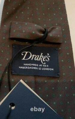 Drakes London Mens Hand Made Brown Poka Dot Silk Tie RRP £145 New