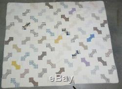 Estate Found Antique Handmade 19c Pattern Bow Tie Patchwork Quilt