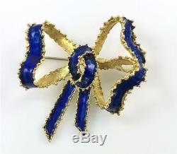 Estate Hammerman Bros HB 18k yellow Gold Vintage Blue Enamel Bow Pin Brooch 11.9