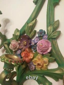 Exquisite Michal Negrin Victorian Baroque Ornate Roses Bow Wall Sconce Floral