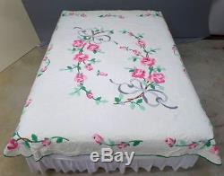 Exquisite Vintage Applique Pink Roses Bow Quilt Handmade 74 x 86