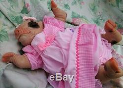 FUN reborn gift piglet baby PETAL PINK BOWS 4lb6oz JosyNN BABY BUT NOT A BABY