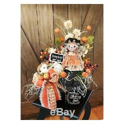 Fall Autumn Floral Wagon Tabletop Centerpiece with Handmade Doll Pumpkins & Bow