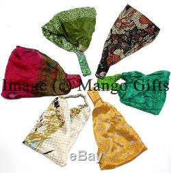 Fashion Women Yoga Elastic Bow Hairband Silk Sari Hair Band Headband Wholesale