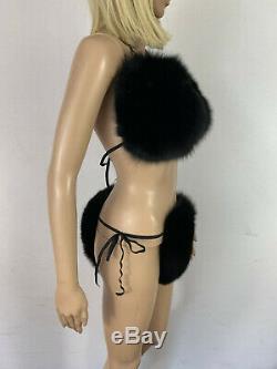 Fox Fur Bikini Two Pieces Double Sided Fur Black Fur Color Fur Panties and Top