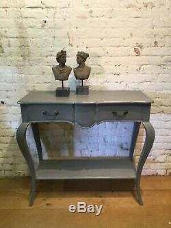 French Style Shabby Chic Console Table With Drawer & Shelf On Bow Legs