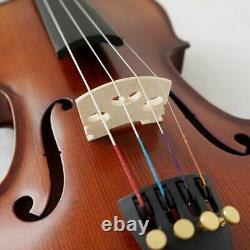 Full Size Handmade Violin With Oblong Case and Bow Solid Carved Spruce Top Flame