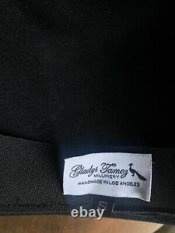 GLADYS TAMEZ Dusty Black Wool Felt Wide Brim Ribbon Bow Trim Fedora Hat S