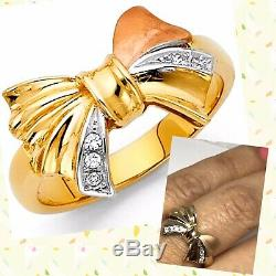 GOLD Bow ring 14k solid real Tri simulated diamond size 7 ask 5 6 8 9
