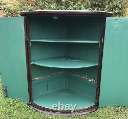 Georgian Oak Bow Front Corner Cupboard Antique Drinks Bathroom Cabinet