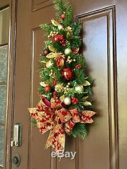 Glittery Poinsettia Bow WALL TREE Holiday Decor, Cordless Light with Timer