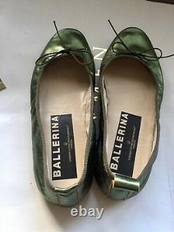 Golden Goose Ballerina GGDB Ballet Flats Size 37,5 Metallic Green Worn Once RARE