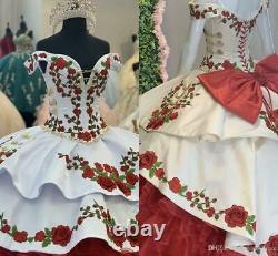 Gorgeous Gold Red Green Embroidery Quinceanera Dress Off The Shoulder Prom Gown