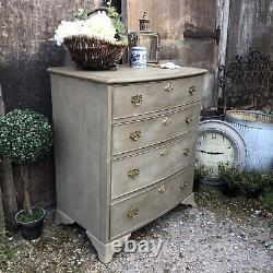 Grey Hand Painted Bow Fronted Rustic Country Farmhouse Vintage Chest of Drawers