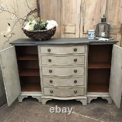 Grey Hand Painted Gustavian Country Style Vintage Bow Fronted Cabinet Sideboard