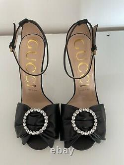 Gucci Sylvie Crystal Bow Leather Sandals 38 RP£850 Marmont Ace Falacer